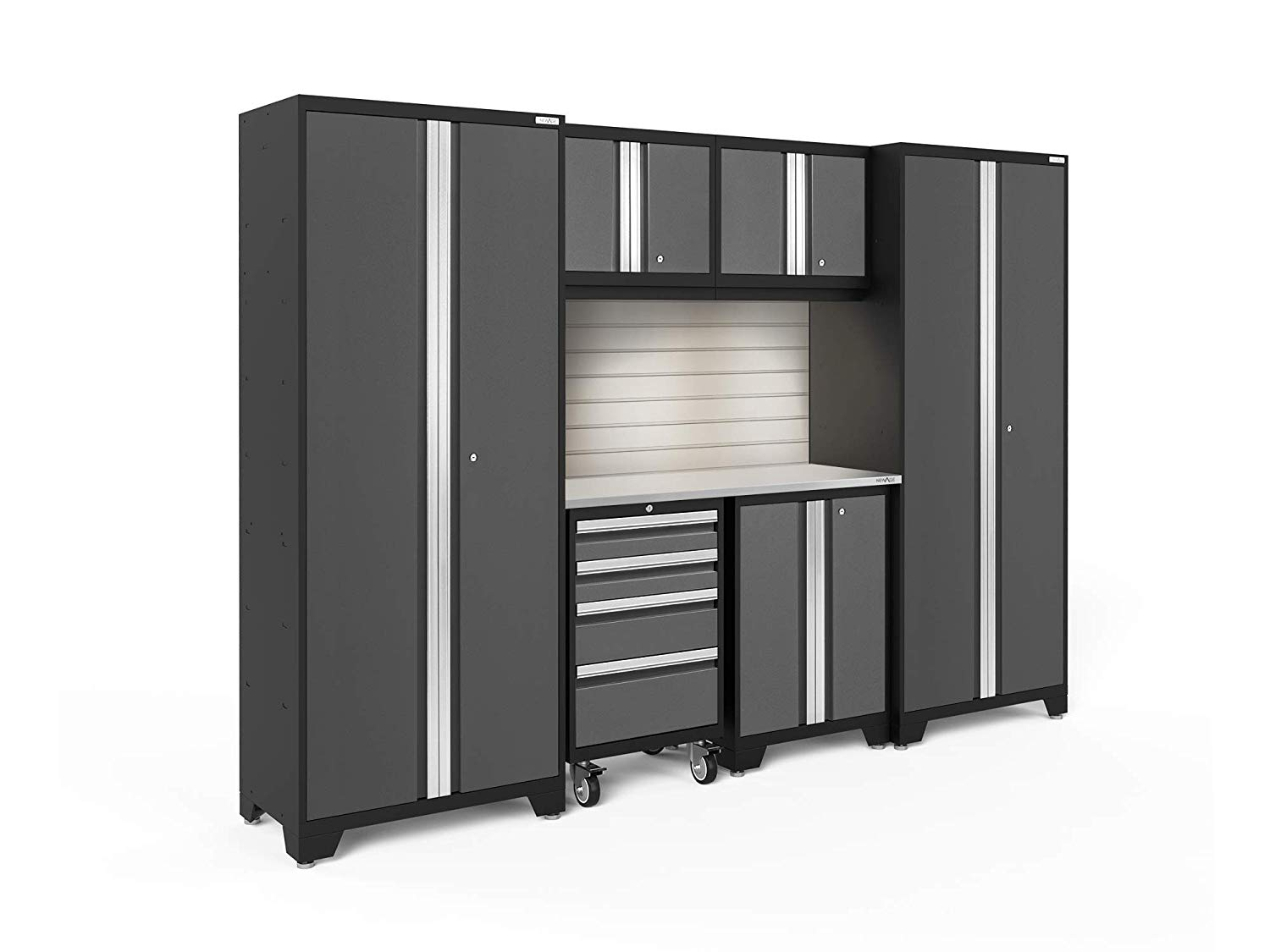 NewAge Products Bold 3.0 Gray 7 Piece Set, Garage Cabinets