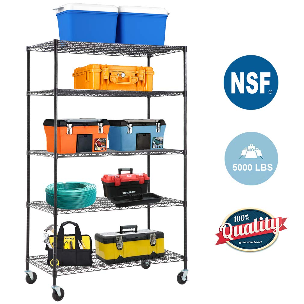 5-Wire Shelving Unit Steel Large Metal Shelf Organizer