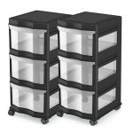Classic 3-Plastic Clear Drawers Shelf Storage Organizer Box Portable Container