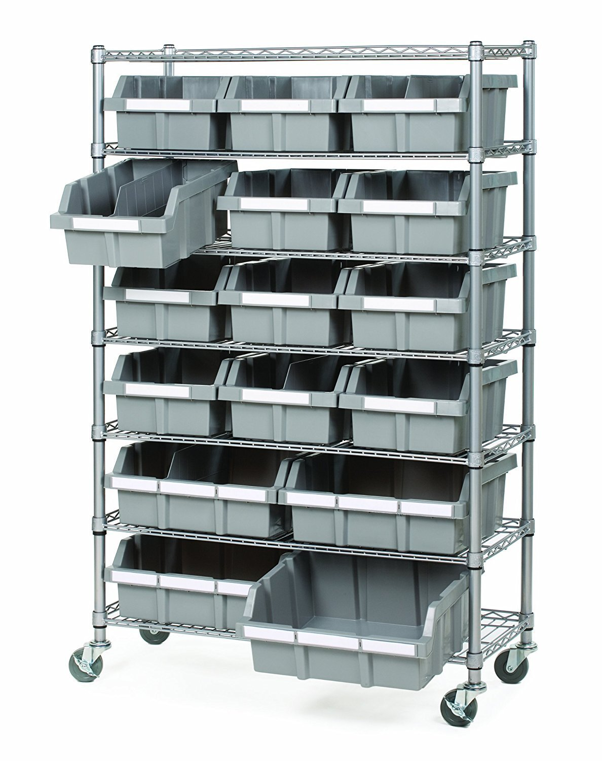 Seville Classics 7 Shelf Commercial Bin Rack System